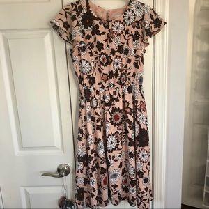 Ann Taylor LOFT pink floral midi dress